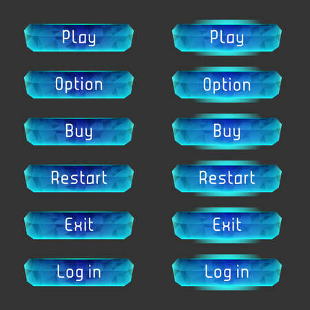 arcade games: Vector elements for game design (GUI). Interface Set of vector buttons for the menu of the mobile games: arcade, shooter, space games or apps