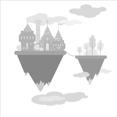 levitation: Castle in the sky. Flat design magic castle in the clouds. Vector illustration Illustration