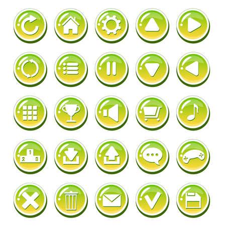 Set, gelb, grün gläsernen Tasten für Schnittstellen (Spiel-Interface, App-Benutzeroberfläche). Vector GUI-Elemente für Handy-Spiel oder PC-Spiel. Isoliert auf weißem Hintergrund