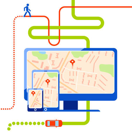 notation: Navigation web map with pin. Route for car and pedestrian. Smartphone, computer and tablet with flat map with notation and markers. Flat vector illustration isolated on wight background