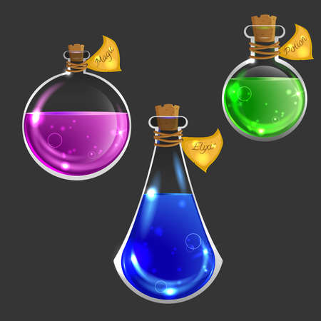 elixir: Collection of three magical bottles. Icons of magic elixir. Vector design for app user interface isolated on dark Vectores