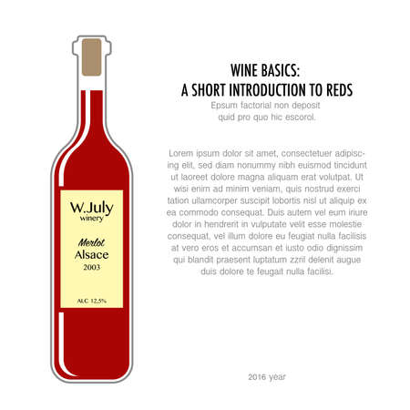 Bottle of red wine in flat style isolated on white background. Typography poster for wine tasting or information poster for wineries or wine shop