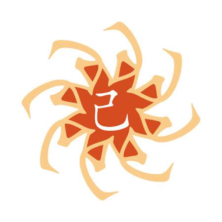 hieroglyph: Symbol from chinese hieroglyphs. Translation of 10 zodiac stems, feng shui signs hieroglyph: Soil.