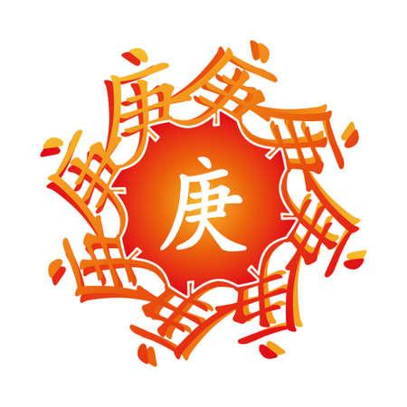 hieroglyph: Symbol from chinese hieroglyphs. Translation of 10 zodiac stems, feng shui signs hieroglyph: Tree. Illustration