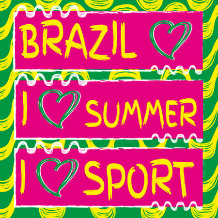 hart: Ipanema beach pattern and hart shape. Vector set of banners. Hand drawn. I love sport. Brazil 2016 Illustration