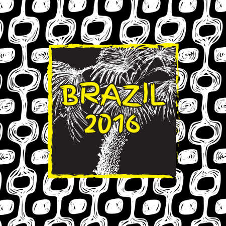 brasil: Ipanema beach pattern banner. Vector illustration. Brasil style pattern with palm tree. Illustration