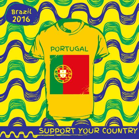 bandera de portugal: Dibujado a mano de vectores. vector patrón con la camiseta con la bandera del país. Apoyar a su país. Ipanema, Brasil, 2016 patrón. Bandera nacional. Portugal Vectores