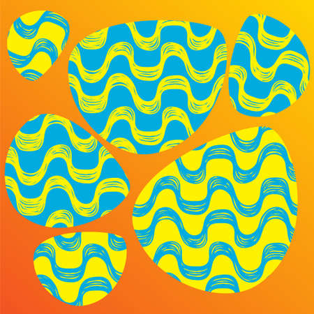 oval shape: Ipanema beach pattern set. Vector illustration. Brasil style pattern. Oval shape. Wave pattern.