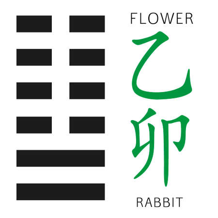 cosmology: Symbol of i ching hexagram from chinese hieroglyphs. Translation of 12 zodiac feng shui signs hieroglyphs Illustration