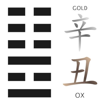 gua: Symbol of i ching hexagram from chinese hieroglyphs. Translation of 12 zodiac feng shui signs hieroglyphs Illustration
