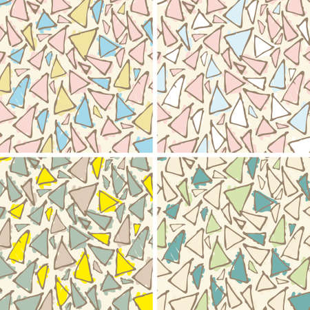 gaudi: Antonio Gaudi mosaic. Triangle hand drawn vector pattern.