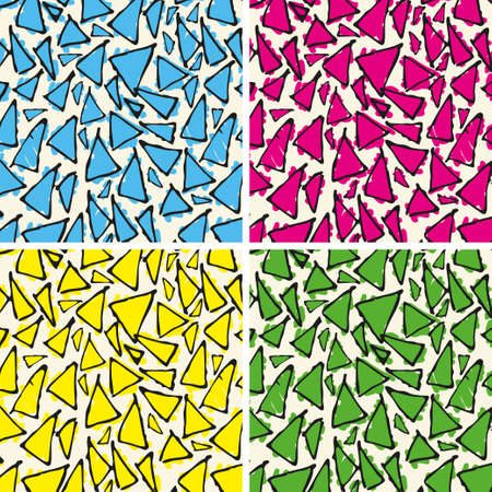 Antonio Gaudi mosaic. Triangle hand drawn vector pattern.