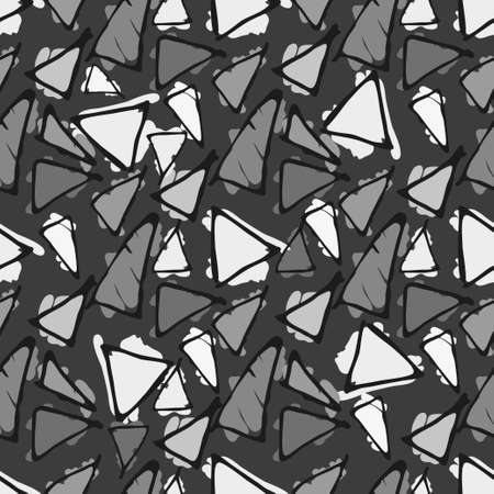 gaudi: Antonio Gaudi mosaic. Triangle hand drawn vector seamless pattern.
