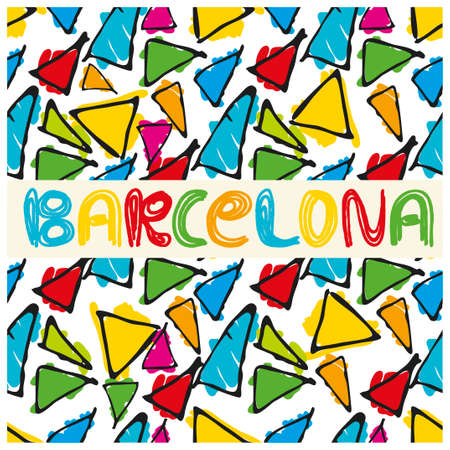 Antonio Gaudi mosaic. Triangle hand drawn vector seamless pattern with word Barcelona. Illustration