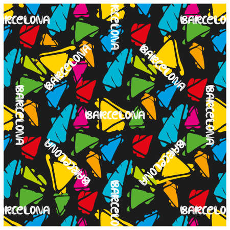 gaudi: Antonio Gaudi mosaic. Triangle hand drawn vector seamless pattern with word Barcelona. Illustration