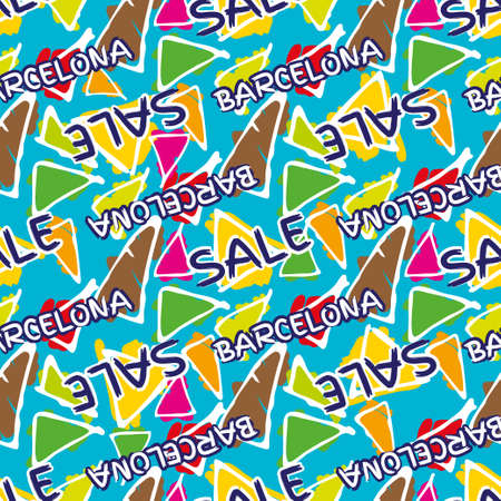 gaudi: Triangle hand drawn vector seamless pattern with word sale. Gaudi mosaic pattern and word Barcelona. Antonio Gaudi pattern. Barcelona pattern Illustration