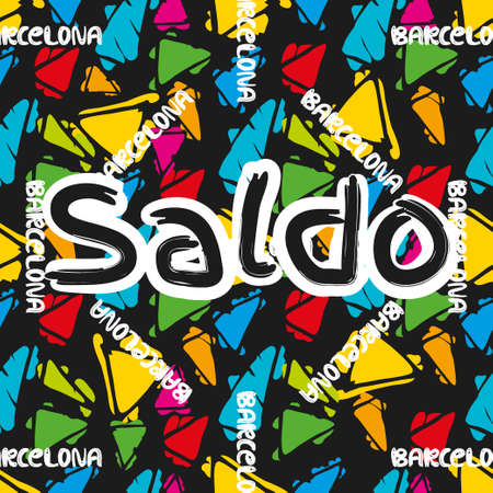 gaudi: Triangle hand drawn vector seamless pattern with word sale on the spanish lenguage. Gaudi mosaic pattern and word Barcelona. Antonio Gaudi pattern. Barcelona pattern
