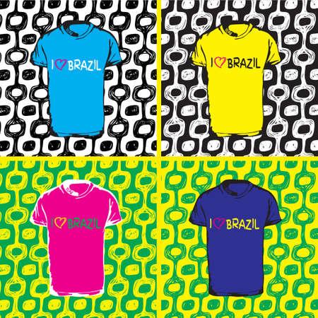 Ipanema beach pattern. Vector illustration set. Hand drawn t-shirt and pattern. Brazil 2016