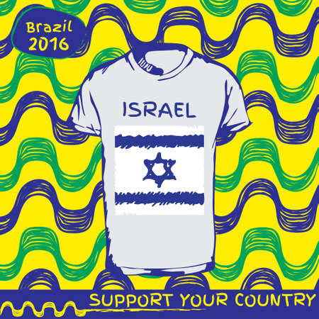 flag of israel: Hand drawn vector. vector pattern with t-shirt with country flag. Support your country. Ipanema, brazil, 2016 pattern. National flag. Israel
