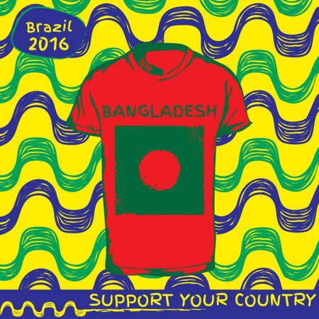 national flag bangladesh: Hand drawn vector. vector pattern with t-shirt with country flag. Support your country. Ipanema, brazil, 2016 pattern. National flag. Bangladesh