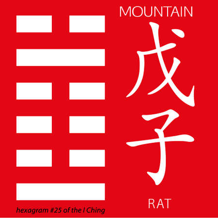 hieroglyphs: Symbol of i ching hexagram from chinese hieroglyphs. Translation of 12 zodiac feng shui signs hieroglyphs- mountain and rat.
