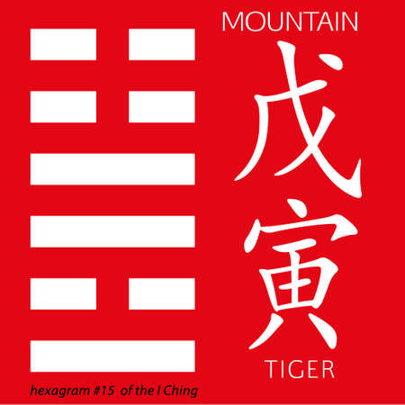 ching: Symbol of i ching hexagram from chinese hieroglyphs. Translation of 12 zodiac feng shui signs hieroglyphs- mountain and tiger. Illustration