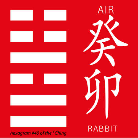 Symbol of i ching hexagram from chinese hieroglyphs. Translation of 12 zodiac feng shui signs hieroglyphs- air and rabbit. Illustration
