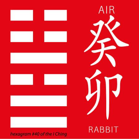 hieroglyphs: Symbol of i ching hexagram from chinese hieroglyphs. Translation of 12 zodiac feng shui signs hieroglyphs- air and rabbit. Illustration