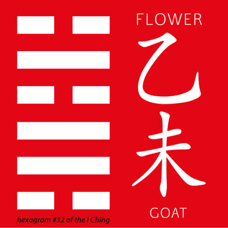 gua: Symbol of i ching hexagram from chinese hieroglyphs. Translation of 12 zodiac feng shui signs hieroglyphs- flower and goat. Illustration