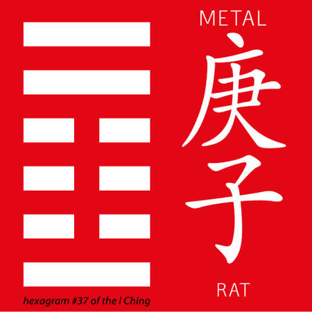ching: Symbol of i ching hexagram from chinese hieroglyphs. Translation of 12 zodiac feng shui signs hieroglyphs- metal and rat.