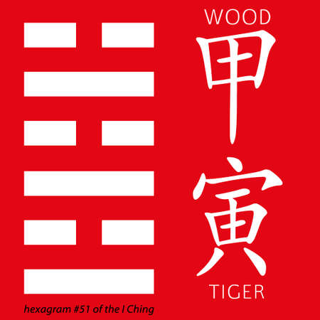 ching: Symbol of i ching hexagram from chinese hieroglyphs. Translation of 12 zodiac feng shui signs hieroglyphs- wood and tiger. Illustration