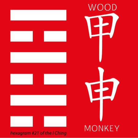 ching: Symbol of i ching hexagram from chinese hieroglyphs. Translation of 12 zodiac feng shui signs hieroglyphs- wood and rmonkey. Illustration