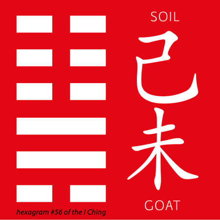 gua: Symbol of i ching hexagram from chinese hieroglyphs. Translation of 12 zodiac feng shui signs hieroglyphs- soil and goat. Illustration