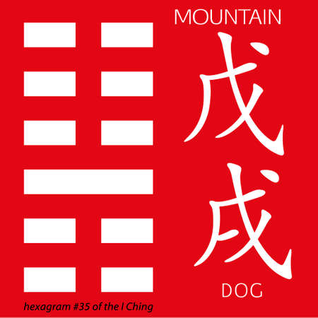 ching: Symbol of i ching hexagram from chinese hieroglyphs. Translation of 12 zodiac feng shui signs hieroglyphs- mountain and dog.