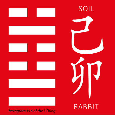 ching: Symbol of i ching hexagram from chinese hieroglyphs. Translation of 12 zodiac feng shui signs hieroglyphs- soil and rabbit. Illustration