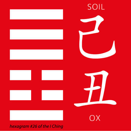 ching: Symbol of i ching hexagram from chinese hieroglyphs. Translation of 12 zodiac feng shui signs hieroglyphs- soil and ox. Illustration