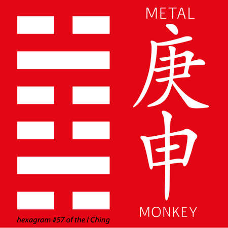 gua: Symbol of i ching hexagram from chinese hieroglyphs. Translation of 12 zodiac feng shui signs hieroglyphs- metal and monkey. Illustration