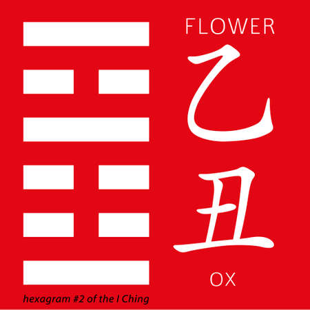 hieroglyphs: Symbol of i ching hexagram from chinese hieroglyphs. Translation of 12 zodiac feng shui signs hieroglyphs- flower and ox.