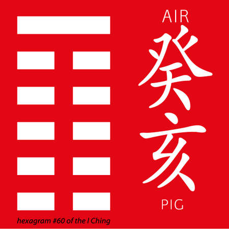 hexagram: Symbol of i ching hexagram from chinese hieroglyphs. Translation of 12 zodiac feng shui signs hieroglyphs- air and pig. Stock Photo