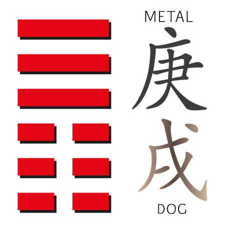 cosmology: Symbol of i ching hexagram from chinese hieroglyphs. Translation of 12 zodiac feng shui signs hieroglyphs- metal and dog.