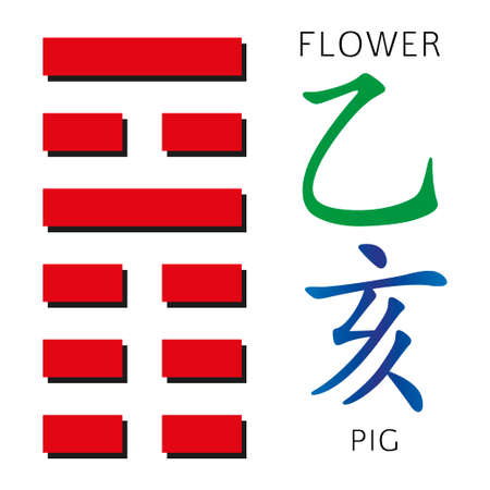 ching: Symbol of i ching hexagram from chinese hieroglyphs. Translation of 12 zodiac feng shui signs hieroglyphs- flower and pig.