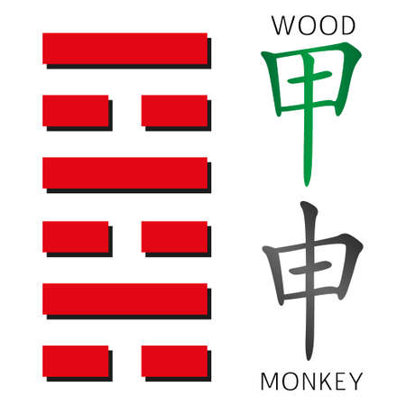 hexagram: Symbol of i ching hexagram from chinese hieroglyphs. Translation of 12 zodiac feng shui signs hieroglyphs- wood and monkey.