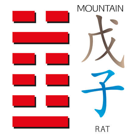 cosmology: Symbol of i ching hexagram from chinese hieroglyphs. Translation of 12 zodiac feng shui signs hieroglyphs- montain and rat. Illustration