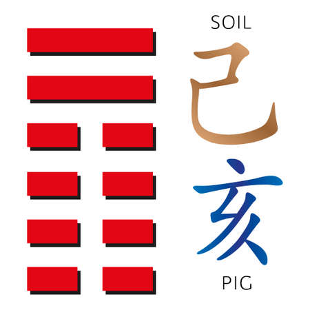 hexagram: Symbol of i ching hexagram from chinese hieroglyphs. Translation of 12 zodiac feng shui signs hieroglyphs- soil and pig. Illustration