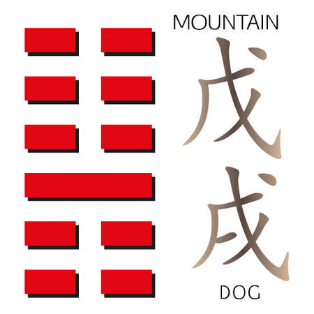 ching: Symbol of i ching hexagram from chinese hieroglyphs. Translation of 12 zodiac feng shui signs hieroglyphs- montain and dog. Illustration