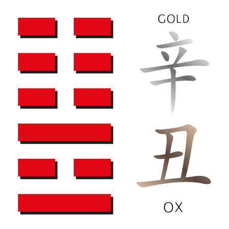 hieroglyphs: Symbol of i ching hexagram from chinese hieroglyphs. Translation of 12 zodiac feng shui signs hieroglyphs- gold and ox.