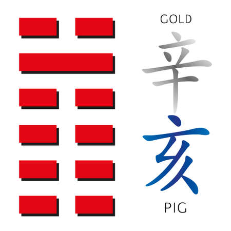 gua: Symbol of i ching hexagram from chinese hieroglyphs. Translation of 12 zodiac feng shui signs hieroglyphs- gold and pig. Stock Photo