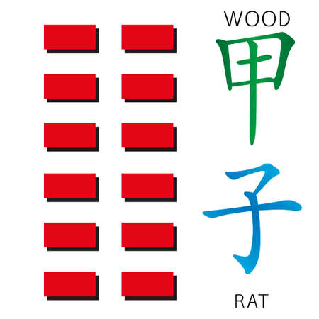 hexagram: Symbol of i ching hexagram from chinese hieroglyphs. Translation of 12 zodiac feng shui signs hieroglyphs- wood and rat.