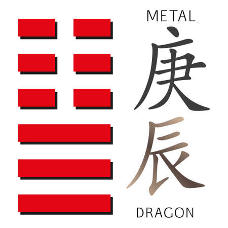 hexagram: Symbol of i ching hexagram from chinese hieroglyphs. Translation of 12 zodiac feng shui signs hieroglyphs- metal and dragon. Illustration