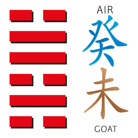 gua: Symbol of i ching hexagram from chinese hieroglyphs. Translation of 12 zodiac feng shui signs hieroglyphs- air and goat. Illustration